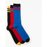 Kin by John Lewis Bright Stripes Socks, Pack of 3, One Size, Blue/Red/Black