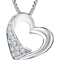 Jools by Jenny Brown Rhodium Plated Cubic Zirconia Heart Pendant Necklace, Silver