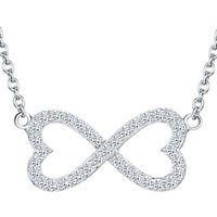 shop for Jools by Jenny Brown Cubic Zirconia Fused Hearts Necklace, Silver at Shopo