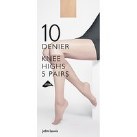 John Lewis 10 Denier Knee High Socks, Pack of 5