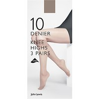 John Lewis 10 Denier Knee High Socks, Pack of 3