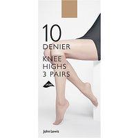 John Lewis 10 Denier Knee High Socks, Pack of 3