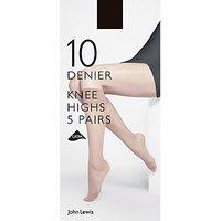 John Lewis & Partners 10 Denier Knee High Socks, Pack Of 5