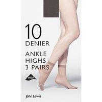 John Lewis & Partners 10 Denier Ankle High Socks, Pack Of 3