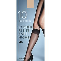 John Lewis 10 Denier Ladder Resist Knee High Socks, Pack of 2