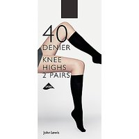 John Lewis & Partners 40 Denier Knee Highs, Pack Of 2