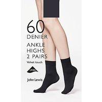 John Lewis & Partners 60 Denier Velvet Touch Ankle Socks, Pack Of 2, Black