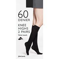 John Lewis & Partners 60 Denier Velvet Touch Knee High Socks, Pack Of 2