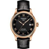 Tissot T0064073605300 Men's Le Locle Date Leather Strap Watch, Black