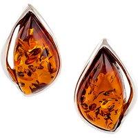 Be-Jewelled Amber Sterling Silver Stud Earrings, Cognac