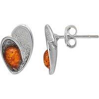 Goldmajor Sterling Silver Amber Teardrop Shell Stud Earrings, Silver/Cognac