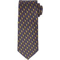 John Lewis Giraffe Print Woven Silk Tie, Navy/Yellow