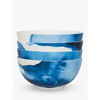 Rick Stein Coves of Cornwall Medium Pasta Bowl, Set of 4, Blue/White, Dia.16cm