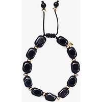 Lola Rose Angel Stripe Agate Bracelet, Black/Gold