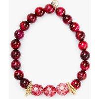 Lola Rose Agnes Rock Crystal And Tiger Eye Bracelet, Burgundy/Fuchsia