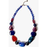shop for One Button Beaded Statement Necklace, Deep Blue/Multi at Shopo