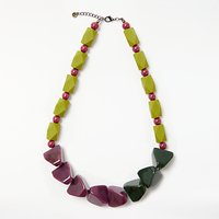 One Button Chunky Necklace, Green/Purple