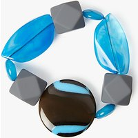 One Button Statement Bead Stretch Bracelet, Turquoise/Multi