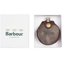 Barbour Round Leather Hip Flask, Brown