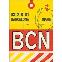 Nick Cranston - Luggage Labels: Barcelona Unframed Print with Mount, 40 x 30cm