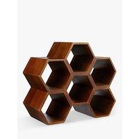 John Lewis Honeycomb Mango Wood Wine Rack, 6 Bottle, Natural