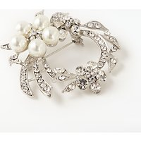 John Lewis Faux Pearl and Cubic Zirconia Swirl Brooch, Silver/Clear