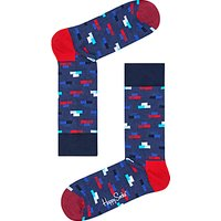 Happy Socks Brick Pattern Socks, One Size, Blue Melange