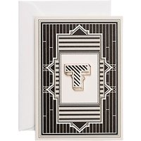 Chase and Wonder Letter T Enamelled Badge Greeting Card, Gold