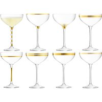 LSA International Deco Champagne Saucer, Set of 8, 235ml, Clear/Gold