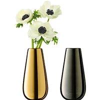 LSA International Flower Metallic Bud Vase Duo, Gold / Platinum
