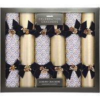 Celebration Crackers Luxury Handmade Damask Christmas Crackers, Pack of 6, Gold/Blue