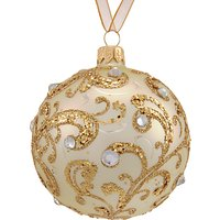 John Lewis Winter Palace Swirl Bauble with Gems, Gold