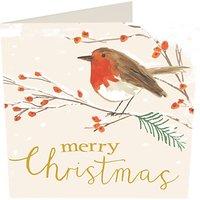 Caroline Gardner Merry Christmas Robin Charity Christmas Cards, Pack of 5