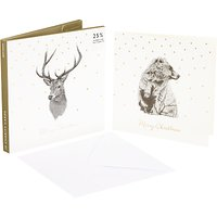 John Lewis Ben Rothery Bear and Stag Charity Christmas Card, Pack of 10