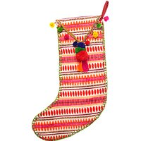 Vivid Lima Llama Tapestry Pom Pom Stocking, Multi