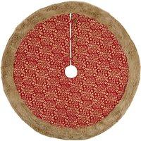 Vivid Highland Myths Thistle Print Tree Skirt, Red, 110cm