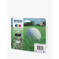 Epson Golfball T3466 Inkjet Printer Cartridge Multipack, Pack of 4