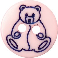 Groves Teddy Button, 12mm, Pack of 7, Pink