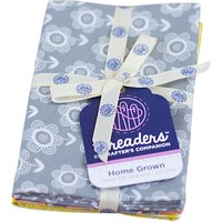 Crafters Companion Home Grown Floral Print Fat Quarter Fabrics, Pack of 3, Grey/Yellow