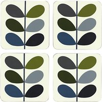 Orla Kiely Multi Stem Coasters, Set of 4, Khaki/Multi