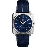 Bell & Ross BRS92-BLU-ST/SCR Mens Automatic Date Alligator Leather Strap Watch, Navy