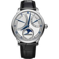 Maurice Lacroix MP6588-SS001-131-1 Mens Masterpiece Moon Retrograde Leather Strap Watch, Black/Silver