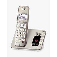 Panasonic KX-TGE220EN Big Button Digital Cordless Telephone with 1.8 LCD Screen, Hearing Aid Compatibility, Nuisance Call Blocker & Answering Machine, Single DECT, Metallic