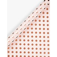 John Lewis & Partners Pink With Rose Gold Spot Gift Wrap, 3m