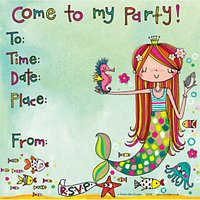 Rachel Ellen Mermaid Invitations, Pack Of 8