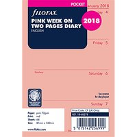 Filofax Week On 2 Pages 2018 Diary Inserts, Pocket, Pink