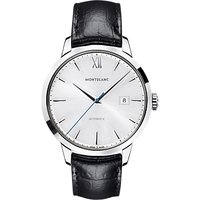 Montblanc 111622 Mens Heritage Spirit Date Automatic Alligator Strap Watch, Black/Silver