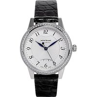 Montblanc 111057 Womens Boheme Automatic Diamond Date Leather Strap Watch, Black/White