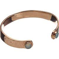 John Lewis Gemstones Small Aqua Druzy Cuff, Rose Gold