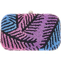 From St Xavier Leaf Box Clutch, Pink/ Blue